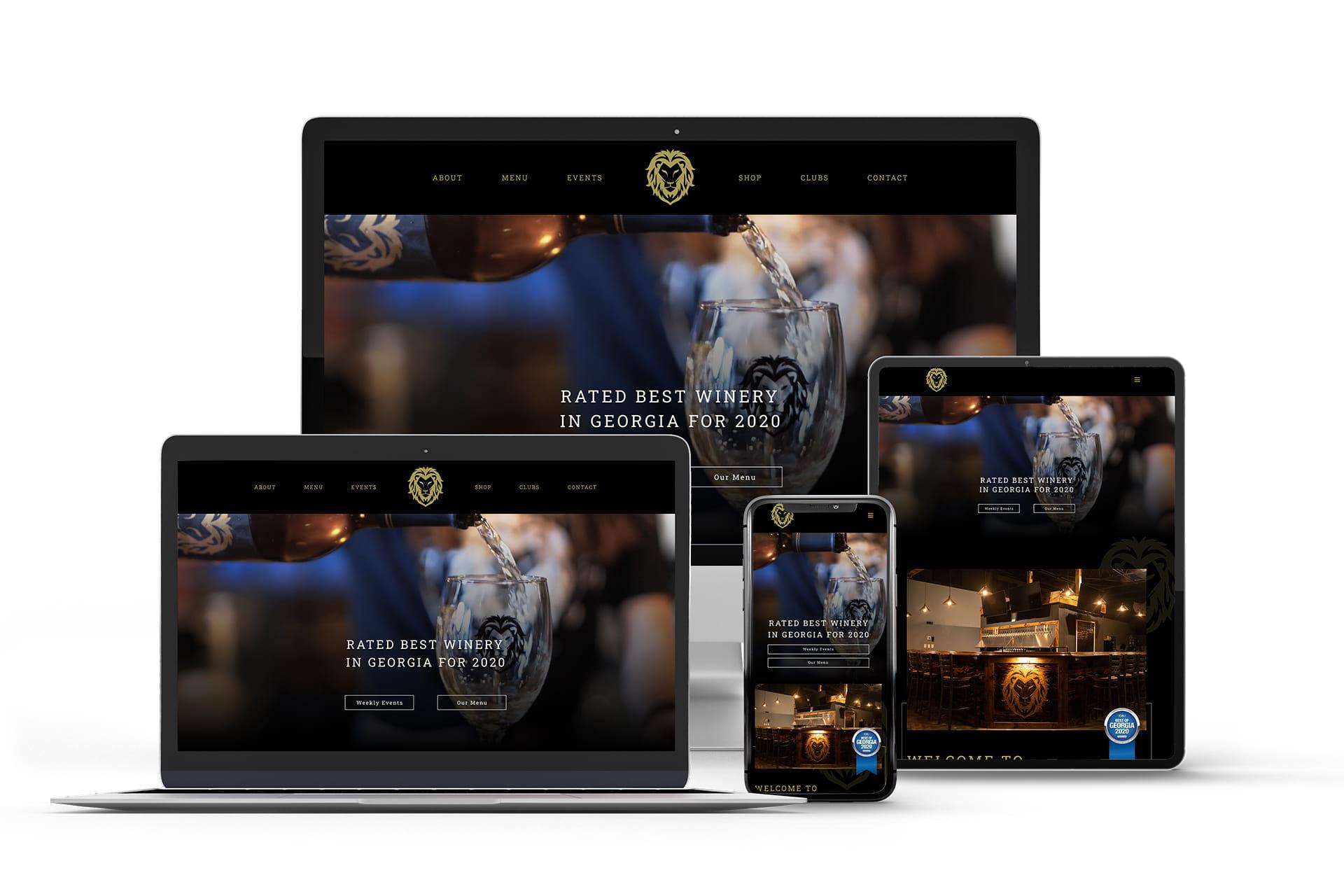Shezmu Cellars website mockups on multiple devices